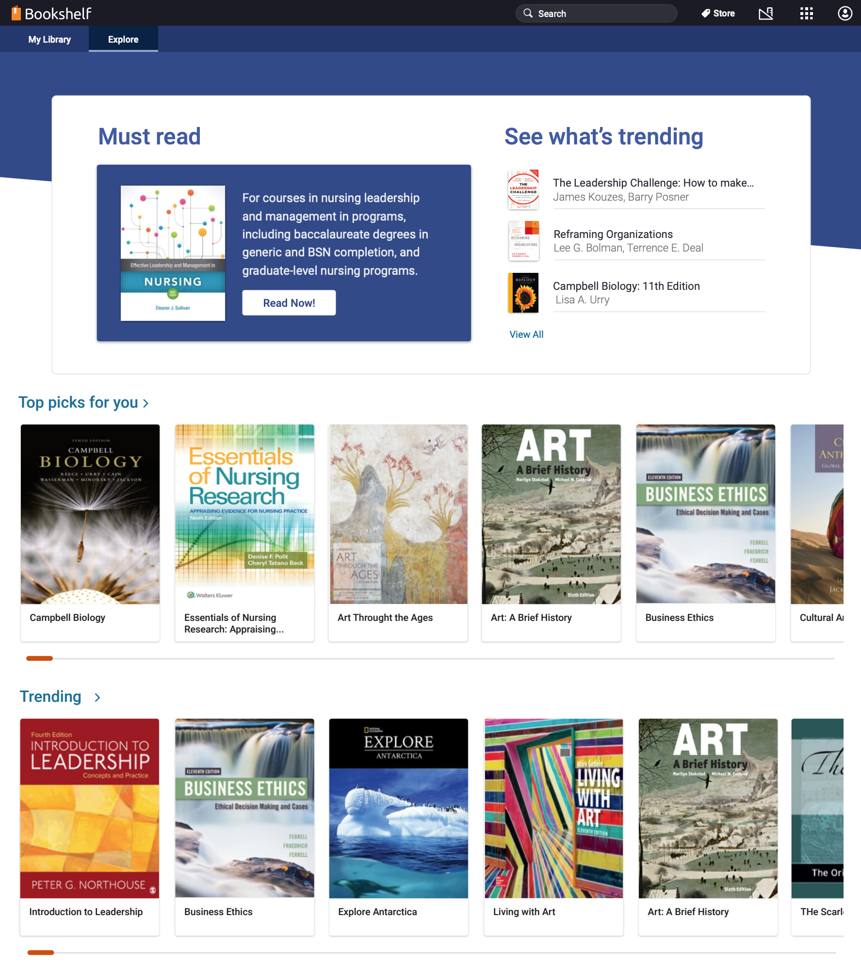 Image of Bookshelf homepage with Must Read. See what's trending, Top picks for you, and Trending sections.